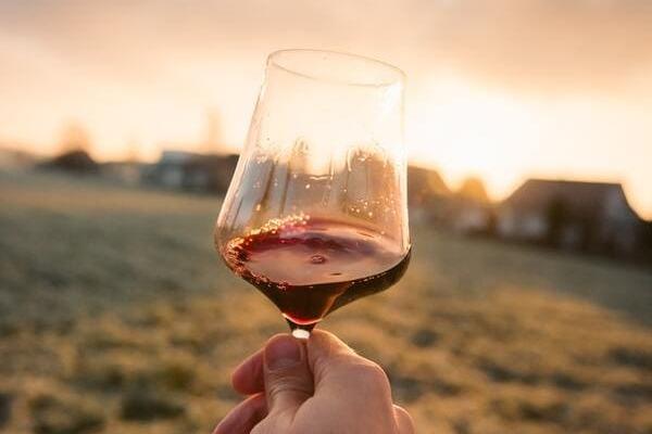 赤ワインの入ったワイングラス